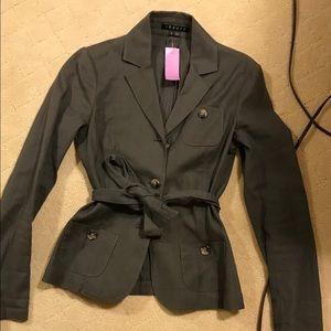 Theory Dark Gray Linen Button/Tie Jacket